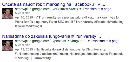 Výsledky Google+ v organickom vyhľadávaní Google